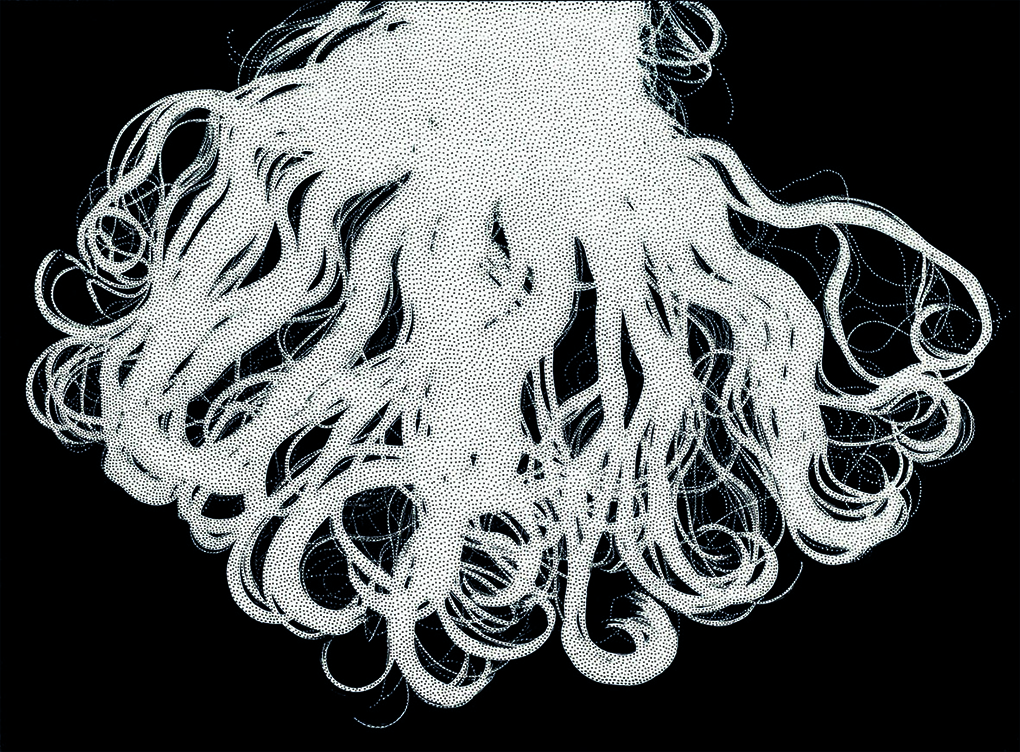 Henri Foucault, Chevelure Version C, 2016 fotogramma e spilli in acciaio inox