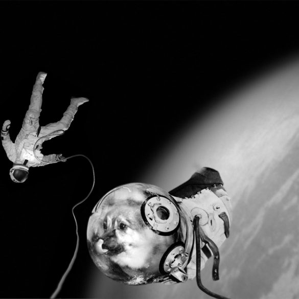 From the Sputnik series Ivan and Kloka performing their historical EVA Extra Vehicular Activity © Joan Fontcuberta