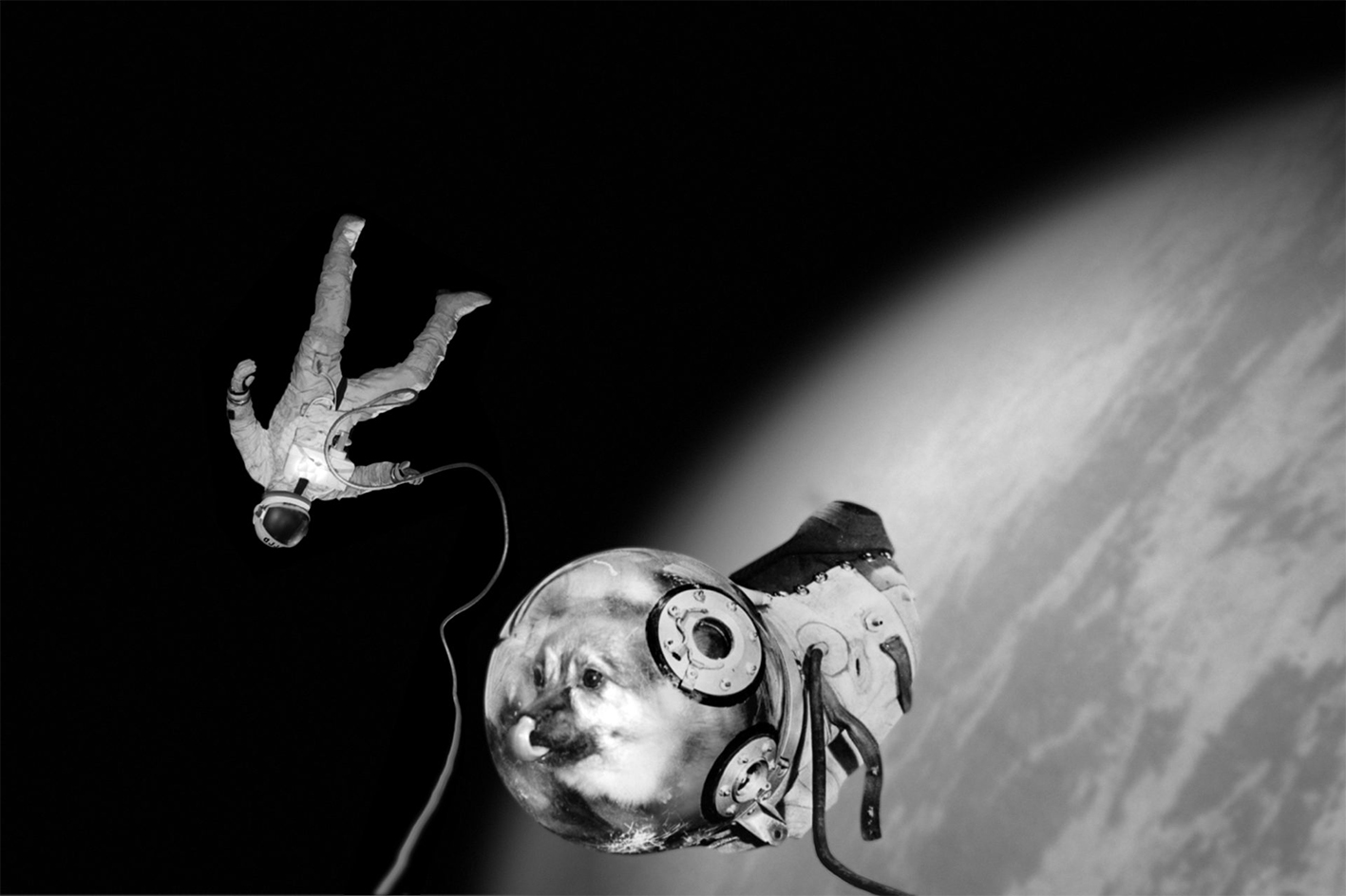 From the Sputnik series Ivan and Kloka performing their historical EVA Extra Vehicular Activity © Joan Fontcuberta